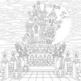 Zentangle stylized halloween castle Royalty Free Stock Photography