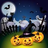 Halloween com abóbora Fotos de Stock Royalty Free