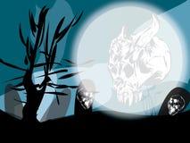 Halloween com crânios e fantasmas Imagens de Stock