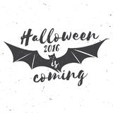 Halloween 2016 is coming. Vector illustration. Halloween 2016 is coming. Vector Halloween retro badge. Concept for shirt or logo, print, stamp. Flying Bat Royalty Free Stock Photos