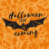 Halloween 2016 is coming. Vector illustration. Halloween 2016 is coming. Vector Halloween retro badge. Concept for shirt or logo, print, stamp. Flying Bat Stock Images