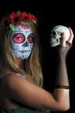Halloween compone la máscara mexicana Fotografía de archivo
