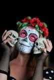 Halloween compone la máscara mexicana Foto de archivo