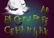 Halloween a composé Police de vecteur fantasmagorique pour la partie de Halloween Grung illustration libre de droits