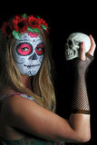 Halloween composent le masque mexicain Photographie stock