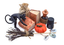 Halloween composition with books and runes Royalty Free Stock Photo