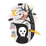 Halloween composition with Grim Reaper holding scythe and owl sitting on tree branch against graves on cemetery and. Starry night sky on background. Flat stock illustration