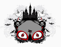 Halloween composition with pumpkin and horror victim eyes. Invitation card Royalty Free Stock Photo