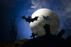 Bats against the background of the moon, halloween Stock Photos