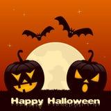 Halloween con due zucche e pipistrelli Fotografia Stock Libera da Diritti