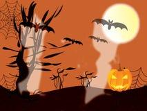 Halloween con i fantasmi Fotografie Stock Libere da Diritti