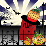 Halloween concept. Colorful background with haunted graveyard with pumpkin hat standing on a gravestone, crosses and two pumpkin lanterns in front of an iron Royalty Free Stock Images