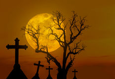 Halloween concept background with scary silhouette dead tree and spooky silhouette crosses in mystic graveyard and big full moon Royalty Free Stock Images