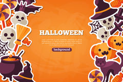 Halloween Concept Banner With Flat Icon on Orange Royalty Free Stock Images