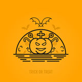Halloween concept with bats, moon, coffin and graves. Stock Photography