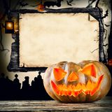 Halloween concept with blank board for text Stock Photo