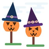 Halloween concept of carved pumpkins with witch hats. Vector Halloween concept of carved pumpkins with witch hats vector illustration