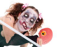 Halloween concept with creepy female clown. Isolated on white stock images
