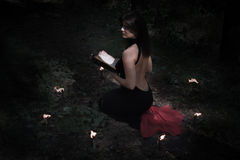 Halloween concept. Fairy in black. In the witchy. Circle. With a book of spells in hand. Looks up. Among woods and trees. With a beautiful back Stock Photos