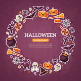 Halloween Concept. Flat Icons Arrange in the Royalty Free Stock Image
