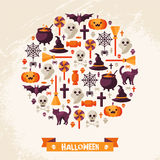 Halloween Concept. Flat Icons Arrange in the Stock Images