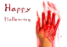 Halloween concept : Hand in blood Royalty Free Stock Photos