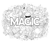 Halloween Concept. Hand drawn cartoon doodle illustration. Magic pattern. illustration for adult coloring book. Sketch Royalty Free Stock Photo