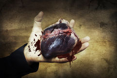 Halloween concept. heart in hand with blood Stock Images
