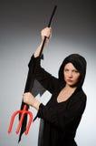 Halloween-concept met vrouw Stock Foto