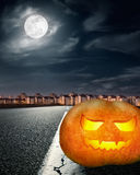 Halloween concept at night of the full moon Royalty Free Stock Image