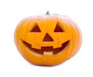 Halloween-concept - pompoen hefboom-o-Lantaarn op wit wordt geïsoleerd dat Royalty-vrije Stock Afbeeldingen