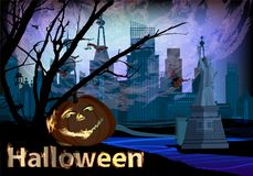 Halloween concept. pumpkin and city Royalty Free Stock Images