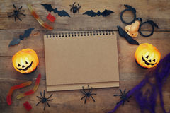 Halloween concept. Pumpkins, spiders, bats and notebook Royalty Free Stock Images