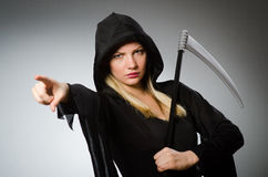 The halloween concept with scary woman. Halloween concept with scary woman Royalty Free Stock Photo