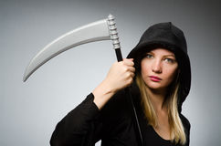 The halloween concept with scary woman Stock Image