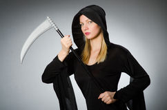 The halloween concept with scary woman Royalty Free Stock Image