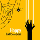 Halloween concept with scratching marks on yellow wall from zombie nails and spider on cobweb. Vector Royalty Free Stock Images