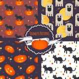 Halloween concept seamless patterns set. Halloween backgrounds with pumpkin, ghost, cat, lollipop. Vector illustration in flat style Royalty Free Stock Photos