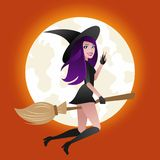 Halloween concept, Sexy witch flying on broom at full moon light background. Halloween concept, Sexy witch flying on broom at full moon light background Stock Photos
