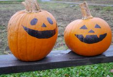 Two pumpkins painted as halloween face, placed on wooden table at a farm.