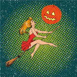 Halloween concept vector poster in retro comic pop art style. Witch girl flying on a broomstick, pumpkin moon Royalty Free Stock Images