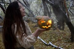 Halloween concept. a witch with a pumpkin of fire. Stock Photography