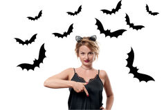 Halloween concept. Woman with carnival cat ears Stock Photos