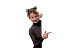 Halloween concept. Woman with carnival cat ears Stock Photo