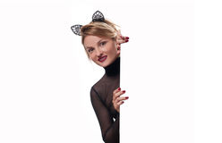 Halloween concept. Woman with carnival cat ears Royalty Free Stock Photos