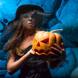 Halloween concept with young woman Stock Photo
