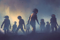 Halloween concept of zombie crowd walking at night. Digital art style, illustration painting Stock Image