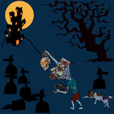 Halloween concept,zombie is going home with his pet Royalty Free Stock Image