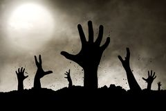 Zombies hand silhouette. Halloween concept zombies hand silhouette Royalty Free Stock Images