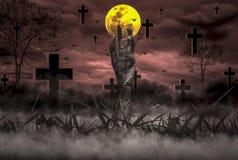 Halloween-Conceptenverschrikking, nacht met doen herleven zombiehanden die uit hel met maan knallen die in hemel drijven, royalty-vrije stock afbeelding